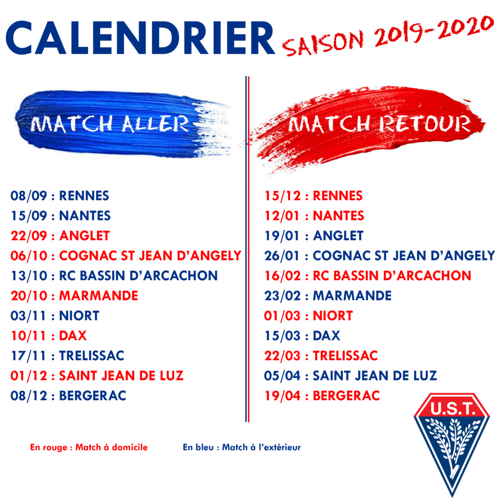 Calendrier Federale 1 Saison 2019 2020 Us Tyrosse Rugby